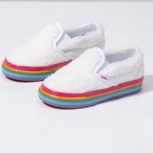 4cffca1e1 Vans Shoes - Vans SlipOn Shearling Rainbow Platform Skate Shoes